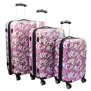 Amazon.com: Tropical Flower 3-Piece Expandable Hardside Spinner ...
