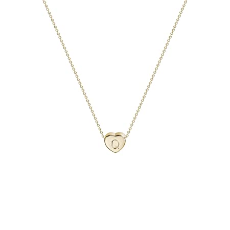 Tiny Gold Initial Heart Necklace-14K Gold Filled Handmade Dainty Personalized Letter Heart Choker Necklace Gift for Women Necklace Jewelry