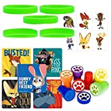 12 Guest Zootopia Favor Set: Stickers, Tattoos, Wristbands, Stampers