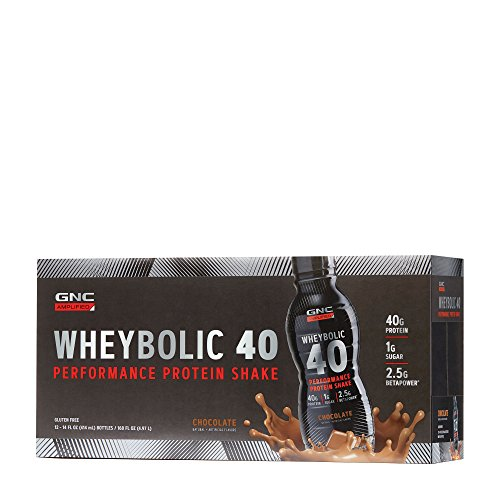 GNC AMP Wheybolic 40, Chocolate, 12 Bottles, Meal Replacement