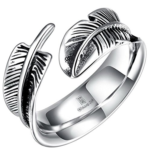 PSRINGS Punk Steel Soldier Stainless Steel Feather Ring Opening Popular Titanium Steel ring 8.0