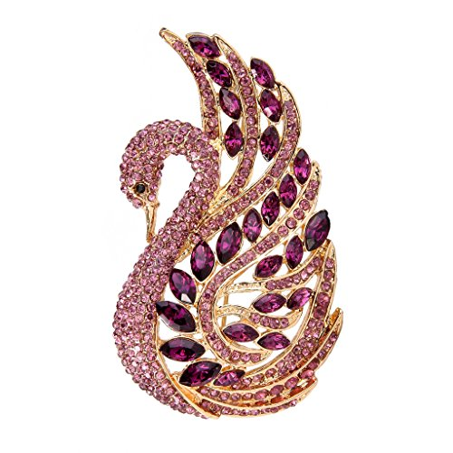 EVER FAITH Women's Austrian Crystal Elegant Swan Bird Brooch Pin Amethyst Color Gold-Tone