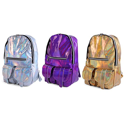 Rucksack Color Backpack Hologram School Casual Laser Purple Travel Jagenie Metallic Fashion Bag RZxHHqU