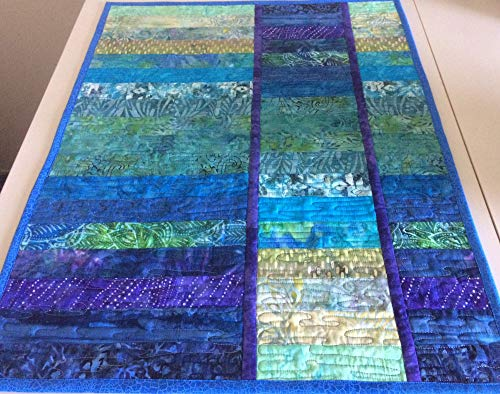 Colorful Batik Wall Hanging, Quilted Wall Art in Blue and Green