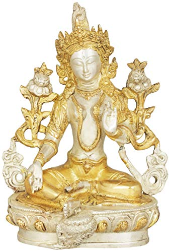 Exotic India Green Tara, Who Saves You (Tibetan Buddhist Deity) - Brass Statue - Color Alluring Silver Gold Color - Gold Buddhist Statues