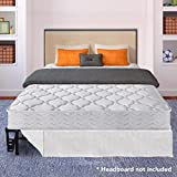Best Price Mattress 8″ Pocket Coil Spring Mattress and 14″ Premium Metal Bed Frame with Brackets and skirt Set, Full