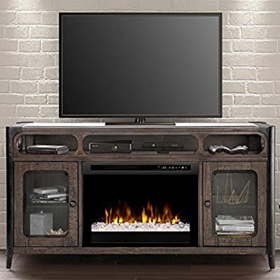 Dimplex Electric Fireplace, TV Stand, Media Console and Entertainment Center with Multiple Storage Cabinets, Colorful Flames, Realistic Logs in Noir Brown Finish - Paige #GDS26G8-1858NB