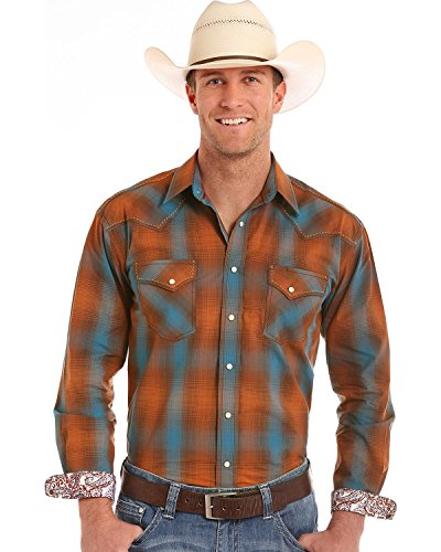Panhandle Men's Rough Stock by Antique Ombre Plaid Long Sleeve Shirt Orange (Panhandle Western Shirts)