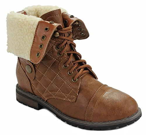 Women Military Combat Foldable Cuff Faux Leather Plaid/Quilted Back Zipper Lace Up Boots Camel_fur-lined