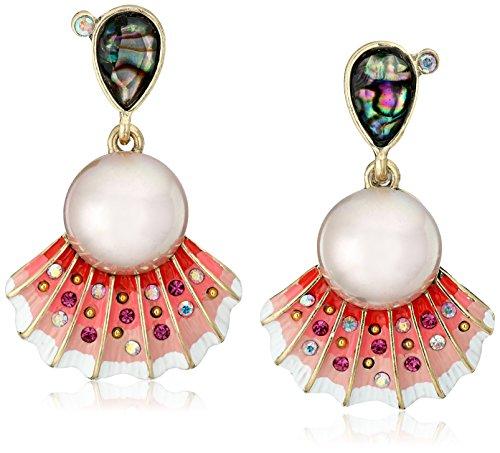 Betsey Johnson The Sea Seashell and Faux Pearl Drop ()