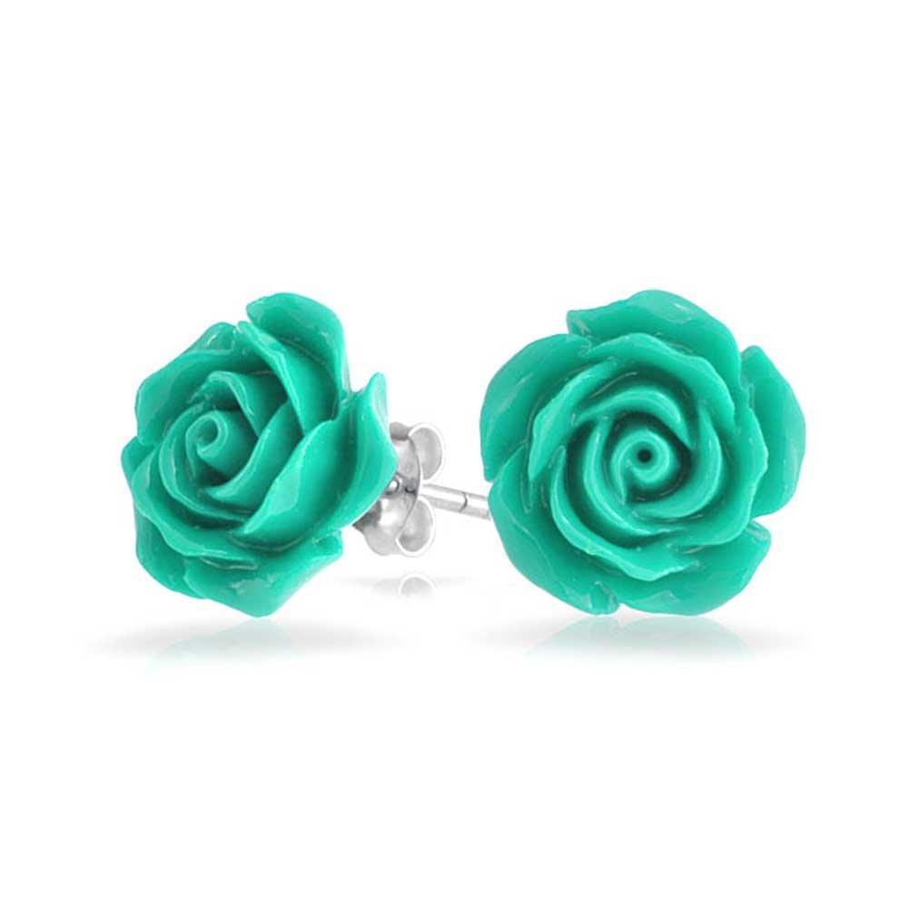 Aqua Blue Resin Rose Stud earrings Brass, 925 Sterling Silver Plating, 10mm Bling Jewelry CB-3751