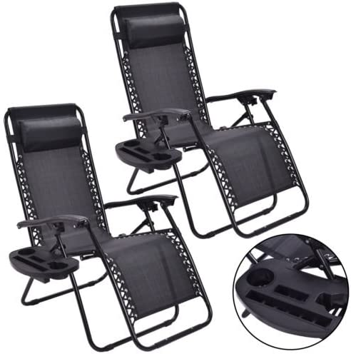 COLIBROX 2PC Zero Gravity Chairs Lounge Patio Folding Recliner Outdoor Black W Cup Holder - the best outdoor recliner for the money