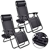 2PC Zero Gravity Chairs Lounge Patio Folding Recliner Outdoor Black W Cup Holder