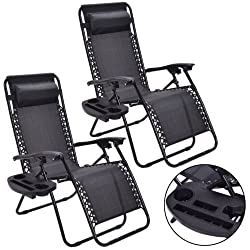 High Quality 2PC Zero Gravity Chairs Lounge Patio Folding Recliner Outdoor Black W Cup  Holder ...