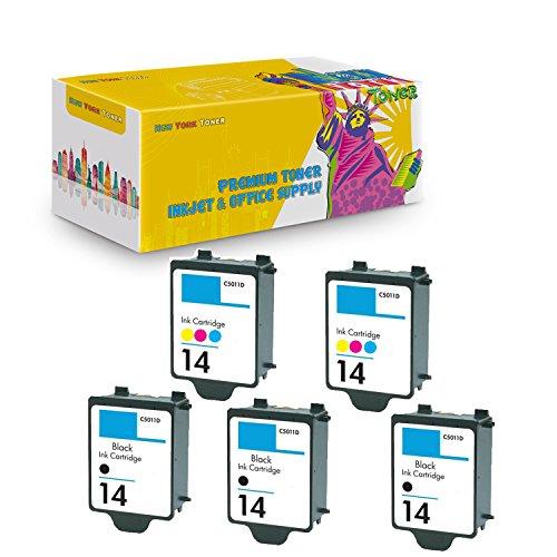 14 Black C5011an Ink - New York TonerTM New Compatible 5 Pack C5011AN HP 14 Black C5010AN HP 14 Color High Yield Inkjet For HP : HP CP1160 | Officejet : D135 | D155 | 7100's | HP Digital Copier 610 . -- 3 Black 2 Color