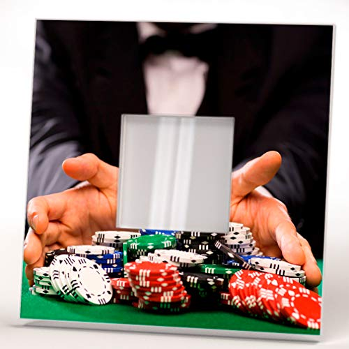 Stack Chips Casino Table Poker Player Man Wall Framed Mirror Decor Fan Design Art Printed Home Gift