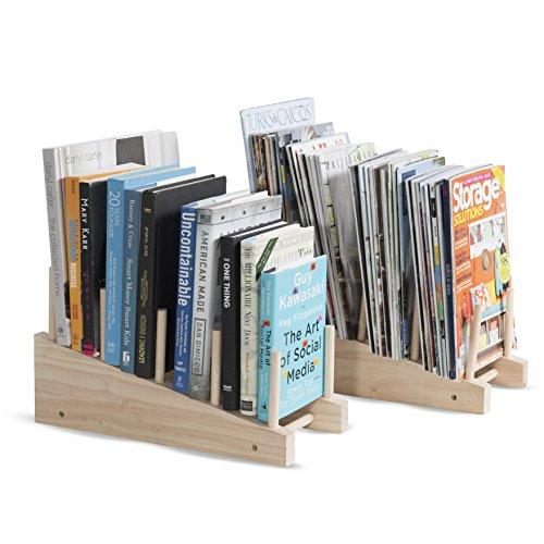 Decorative Free-Standing 4 Sectional Table Desktop Wooden Magazine File Mail Holder - 2 Set Racks - Book Organizer Storage Rack Bookend (No Finish) (Freestanding File Holder)