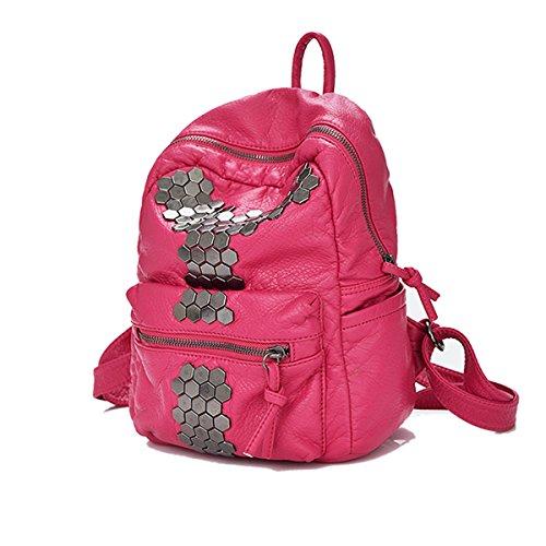 Mujer Cuero Lavable Remaches Mochila Mujeres Moda PU viaje Nuevo Estilo Bolso Pink