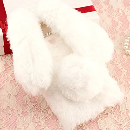 Cami Wool - LG X cam K580Y Art Case, Handmade Fluffy Villi Rabbit Baby Wool Cute Ball Tail Winter Warm Soft Cover, TAITOU Beautiful Special Big Ear Design Light Slim Protection Phone Case For LG X cam White