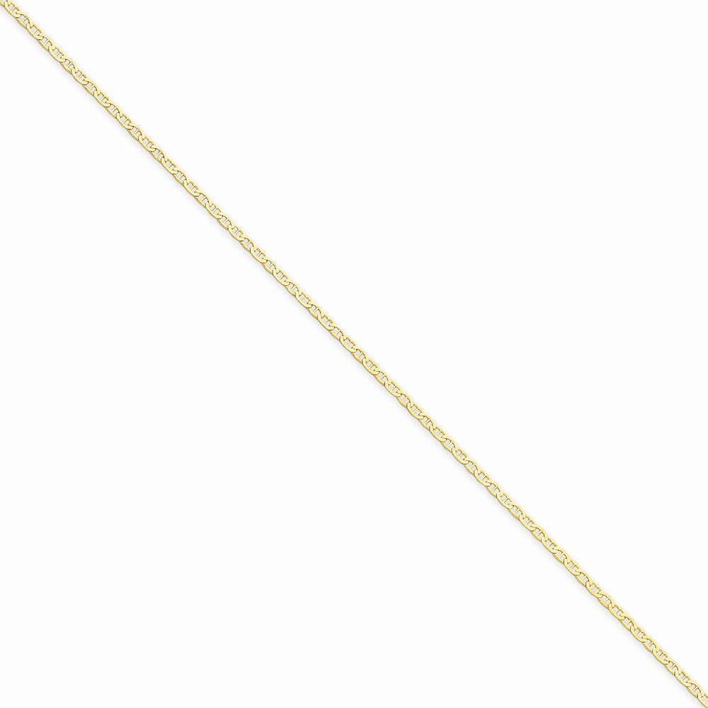 14k Yellow Gold 1.5mm Anchor Link Chain Anklet 10 Inch