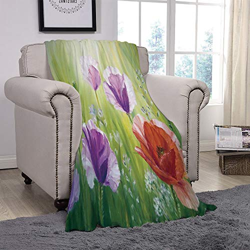 YOLIYANA Light Weight Fleece Throw Blanket/Flower,Sunset Hill with Poppy Dandelion and Daisy Flowers in Fields Artistic,Purple Green and Orange/for Couch Bed Sofa for Adults Teen Girls Boys