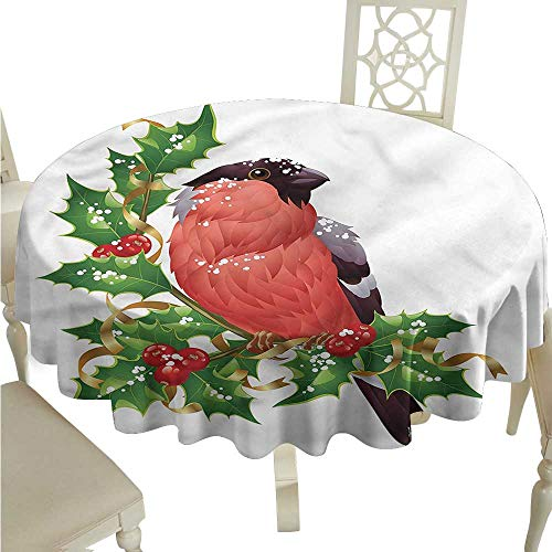 ScottDecor Table Cover Birds,Bullfinch Bird Winter Berries Wrinkle Free Tablecloths Round Tablecloth D 54