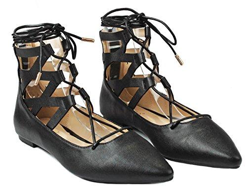 Women Lace Up Cut Out Ankle Cuff Dress Ballet Flats Black Pu WF1oyp