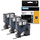 Compatible DYMO 1/2 inch 18444 Rhino Industrial Permanent Vinyl Labels for DYMO RhinoPro 5200 4200 6000 Label Writer and Industrial Label Makers, Black on White, 12mm x 5.5m, 3-Pack