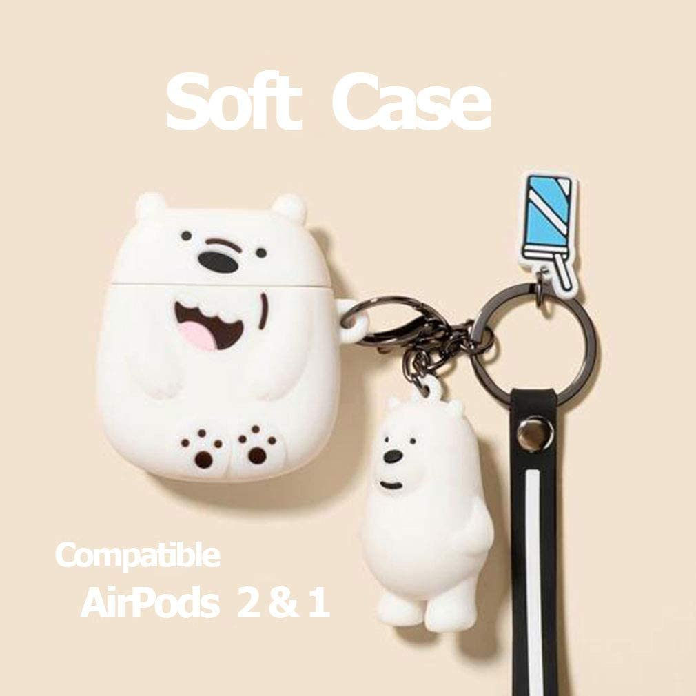 Protective Cover Soft Silicone Shockproof with Lovely Keychain White YOER Creative Cute Fun Funny Cartoon Kawaii Bear Cool Case for AirPods 2 /& AirPods 1 for Friends