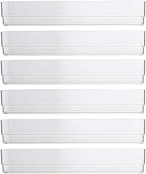 Stori Clear Plastic Drawer Organizers 9 X 3 X 2 L Set Of 6 Home Improvement Amazon Com