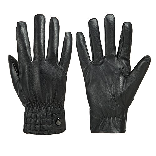 GLOUE Uni-sex Leather Gloves Waterproof Women Men Adjustable Gloves in Winter Outdoor Windproof Gloves, Black