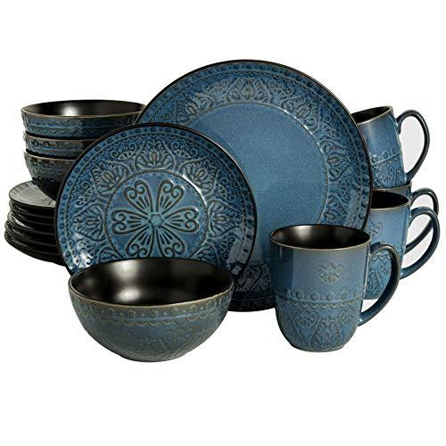 Gibson Elite Milanto Round Embossed Reactive Glaze Stoneware Dinnerware Set, Service for Four (16pcs), Blue