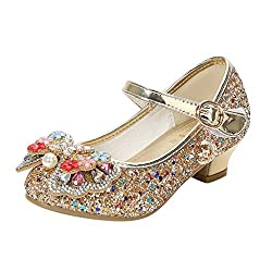 Girl Crystal Rhinestone Bling Bowknot Sequin Shoes