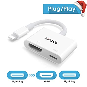 info for 00cb1 fcbd4 MPIO HDMI Adapter for iPhone, iPhone to HDMI Cable, 1080P Digital AV  Adapter HDTV Cable for iPhone iPad iPod Touch (Compatible with IOS 12  Before & ...