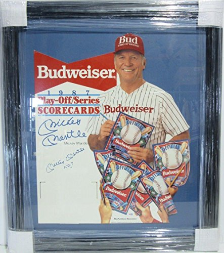 Framed Autographed Display (Mickey Mantle Signed Framed Budweiser Cardboard Cut-out Display #k77206 - PSA/DNA Certified - MLB Autographed Miscellaneous Items)
