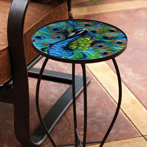 Evergreen Garden Outdoor-Safe Round Peacock Glass Metal Side Table – 12 L x 12 W x 22 H