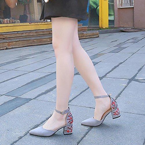 Upxiang Frauen Shallow High Heel, One-Button Schnalle Schuhe, Spring Charming Kleine Frische Gestickte Spitze-Toe Schuhe, Knöchelriemen Square Heel Schuhe, Mode High Heel Grau