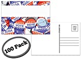 100 Pack of Blank Postcards. Each Post Card in This Patriotic, Bulk Set is 4 x 6, USPS Compliant (mailable), and USA Made. Mail to Voters to get Votes. Flip Side is Plain White and unused. (Buttons)