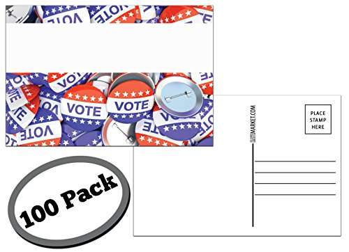 100 Pack of Blank Postcards. Each card in this patriotic, bulk set is size 4 x 6 and USPS compliant (mailable). Great to get votes or to protest. Flip side is white, plain and unused. (Buttons)