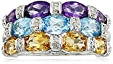 Sterling Silver Swiss Blue Topaz, Citrine, Amethyst and Diamond Ring, Size 7