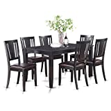 East West Furniture DULE7-BLK-LC 7-Piece Kitchen Room Table Set, Black Finish
