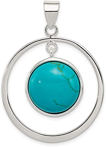 925 Sterling Silver Lab Created Blue Turquoise Teardrop Pendant Charm Necklace Natural Stone Fine Jewellery For Women Valentines Day Gifts For Her