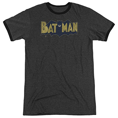 Sons of Gotham Batman - Vintage Logo Splatter Adult Ringer T- Shirt XL
