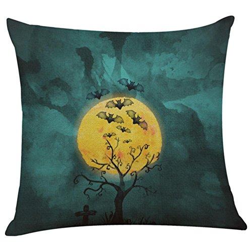 Kimloog Halloween Linen Square Throw Pillow Case Bat Pumpkin Sofa Decorative 18 x 18 Inch Cushion Cover (N) -
