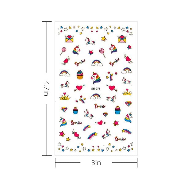 Madholly 10 Sheets Self Adhesive Unicorn Nail Art Stickers Decals Manicure Decoration for Little Girls for Fingernails… 4