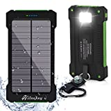 Solar Charger, Hiluckey 10000mAh Waterproof Solar Power Bank Portable Phone Charger With LED Flashlight for iPhone, iPad, Tablets and Cell Phones