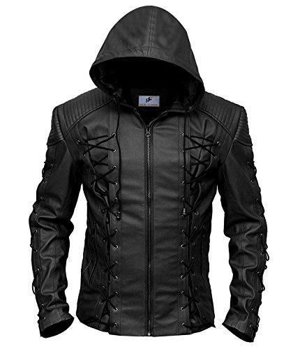 Figura Fashionz Stephen Amell Roy Harper Green Arrow Faux Leather Jacket in Black - Super Hero Leather Jacket (Large)