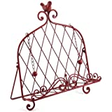 Iron Cookbook Stand ~ Book Holder Adorned with Bird ~ Worn Red Color