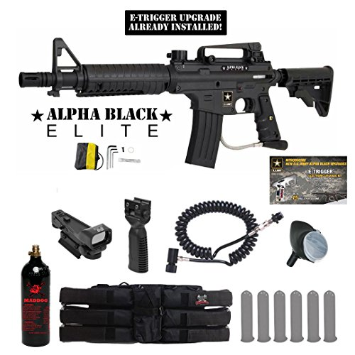MAddog Tippmann US Army Alpha Black Elite w/E-Grip Tactical Red Dot Paintball Gun Package - Black Hopper Dot