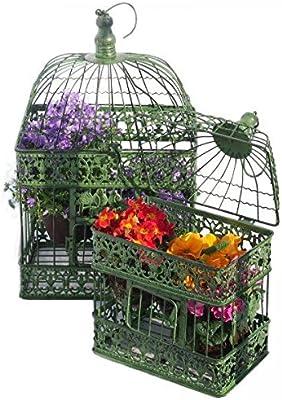Colgante 2 jaulas de decoración verde rectangular jaula decorativa ...